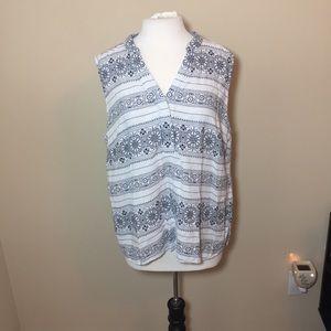 Cynthia rowley linen blend plus size top 1x white